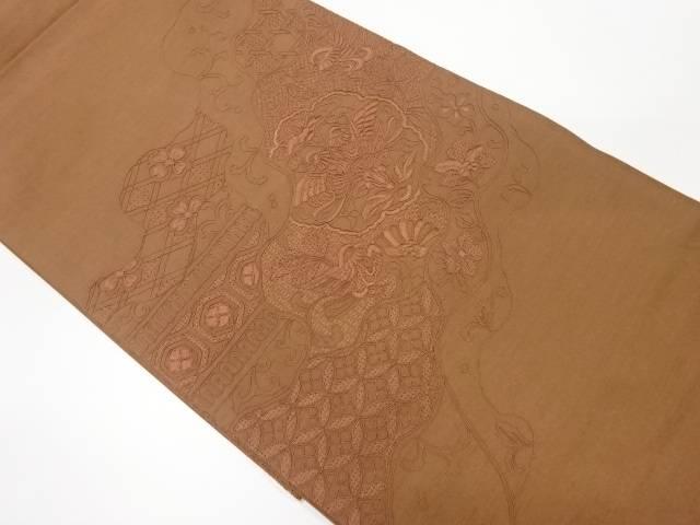 手織り紬汕頭刺繍花鳥模様袋帯【リサイクル】【中古】