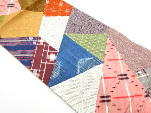 切り嵌めに古典柄模様織出し袋帯【リサイクル】【中古】