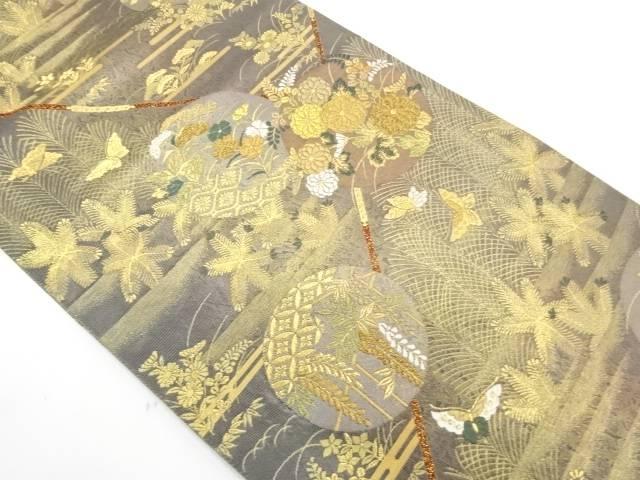 若松蒔絵文様織出し袋帯【リサイクル】【中古】