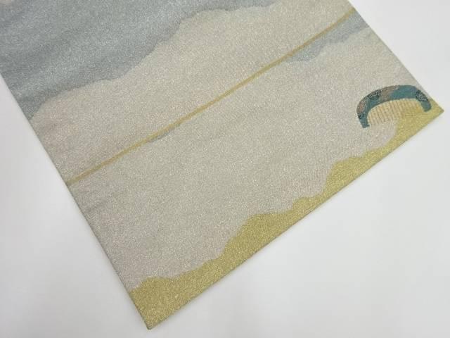 変わり横段に櫛模様織出し袋帯【リサイクル】【中古】