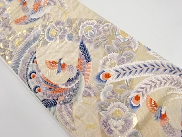 本金唐花に鳳凰模様織り出し袋帯【リサイクル】【中古】
