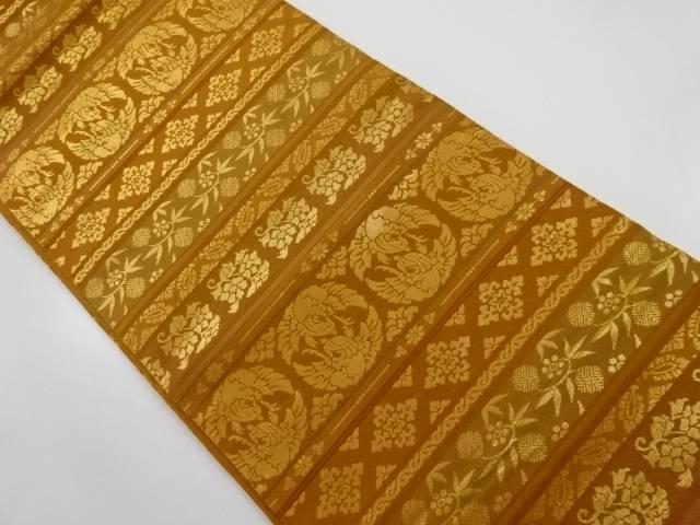金糸横段に花鳥更紗模様織り出し全通袋帯【リサイクル】