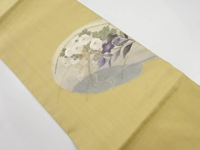 明綴れ流水に万寿菊・桔梗模様織り出し袋帯【リサイクル】【中古】