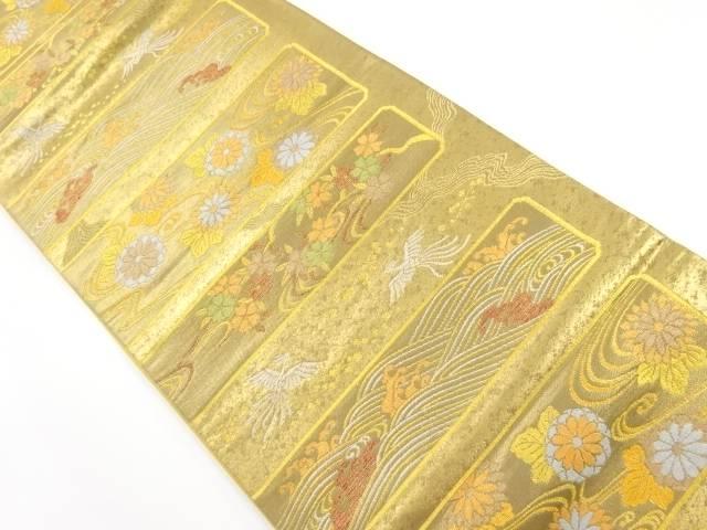 本金箔横段・流水に花鳥模様織り出し袋帯【リサイクル】【中古】