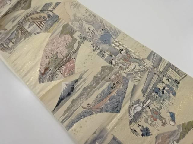 純金箔江戸風俗絵図織り出し袋帯【リサイクル】【中古】