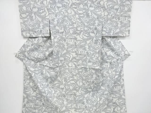 抽象花模様織り出し手織り紬単衣着物【リサイクル】【中古】