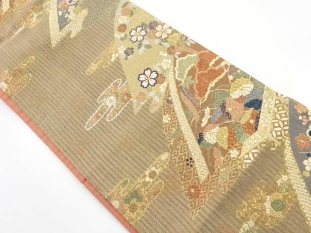 唐織遠山に桜・八重梅模様織り出し袋帯【リサイクル】【中古】