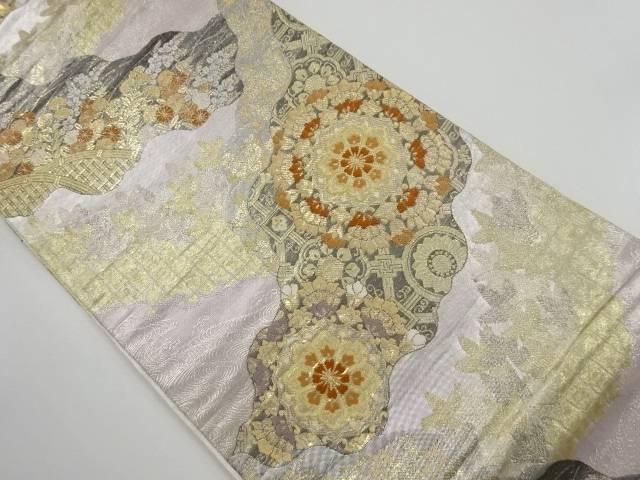 本金道長取りに華紋・秋草模様織り出し袋帯【リサイクル】【中古】