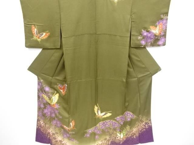 金彩枝垂れ桜に蝶模様刺繍訪問着【リサイクル】【中古】