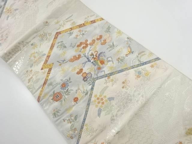 金糸屏風に狩猟模様織り出し袋帯【リサイクル】【中古】