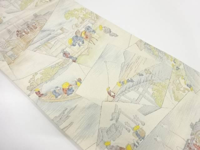 綴れ東海道五十三次模様織出し袋帯【リサイクル】【中古】