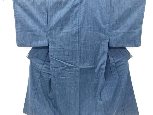 縞織り出し手織り真綿紬男物着物アンサンブル【リサイクル】【中古】