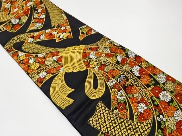 合計3980円以上の購入で送料無料 男女兼用 超特価 束ね熨斗に花々模様織出し袋帯 中古 リサイクル