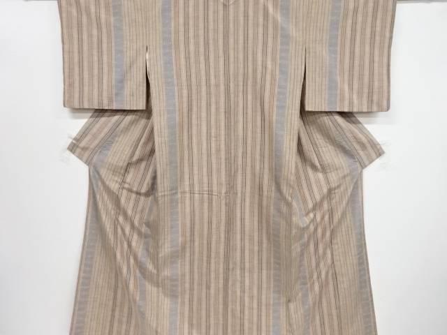 縞に抽象模様織り出し手織り真綿紬着物【リサイクル】【中古】