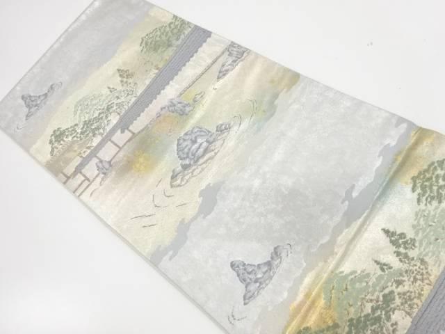 引箔枯山水模様織出し袋帯【リサイクル】【中古】