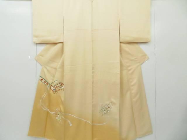 色留袖 Sサイズ 訪問着仕立て 刺繍 暈し 琴文 着物【リサイクル】【中古】