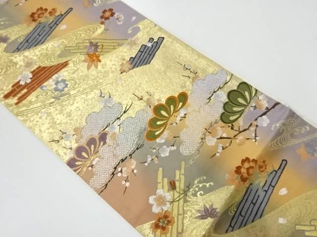 松梅に花筏模様織出し暈し袋帯【リサイクル】【中古】