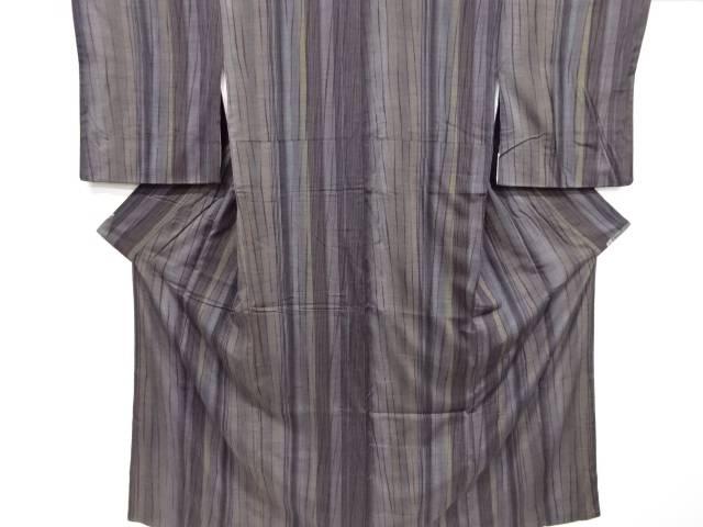 板締め絞り縞模様手織り真綿紬着物【リサイクル】【中古】