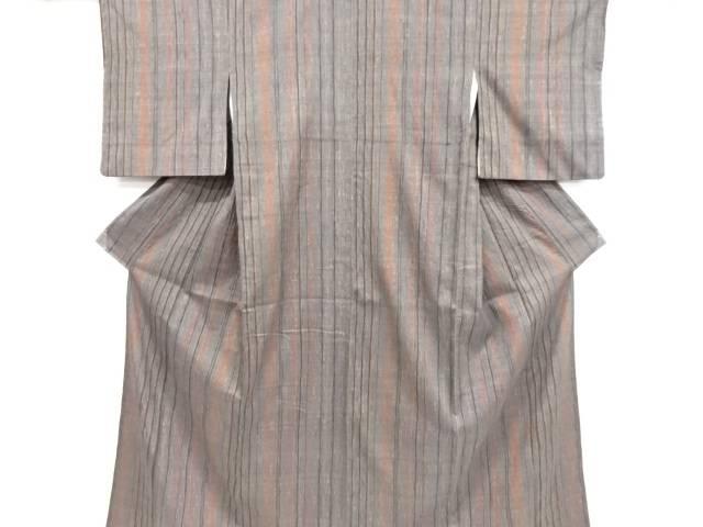 板締め絞り縞模様織り出し手織り紬着物【リサイクル】【中古】