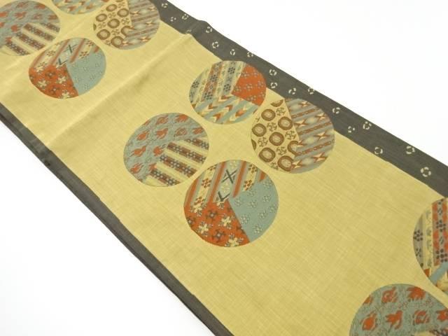 丸紋に古典柄模様織り出し袋帯【リサイクル】【中古】