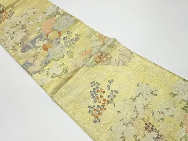 流水に鴛鴦・花々模様織出し袋帯【リサイクル】【中古】