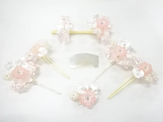 花に雀簪・櫛7点セット【アンティーク】【中古】