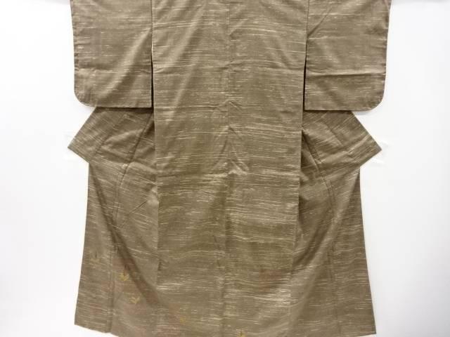 若松模様刺繍手織り真綿紬訪問着【リサイクル】【中古】