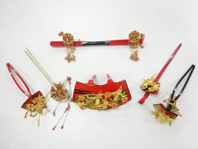 鶴に梅笹簪6点セット【アンティーク】【中古】