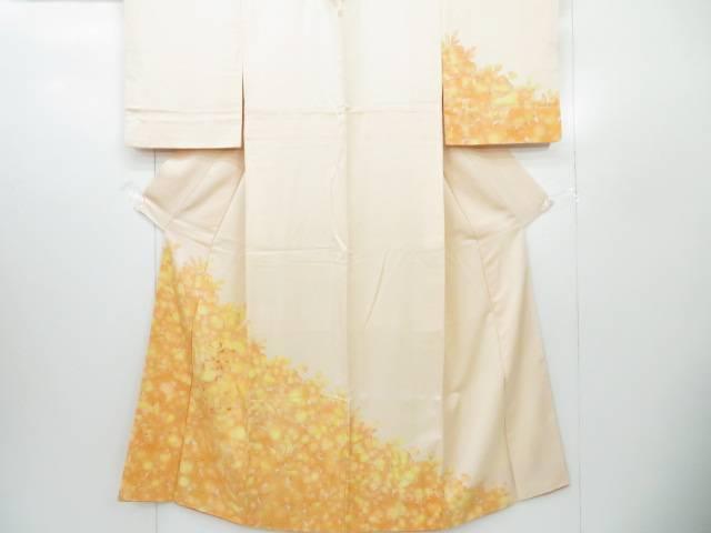付下げ 刺繍入り 葉文 着物【リサイクル】【中古】