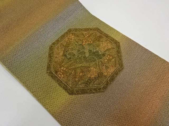 亀甲に花鳥模様刺繍袋帯【リサイクル】【中古】