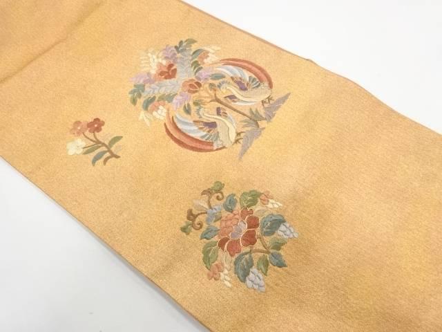 未使用品 寿楽製 唐織向かい鳥に草花模様織出し袋帯(未仕立て)【リサイクル】【中古】