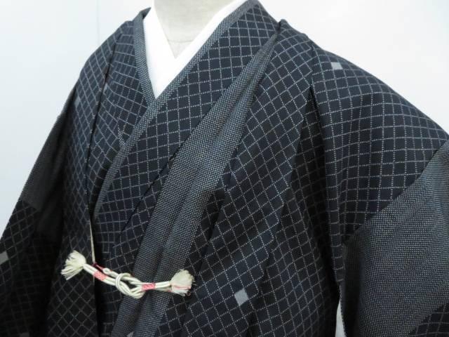 大島紬7マルキ アンサンブル 縞に襷格子文 着物【リサイクル】【中古】
