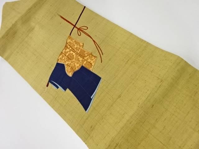 未使用品 手織り真綿紬誰が袖模様刺繍名古屋帯【リサイクル】【中古】
