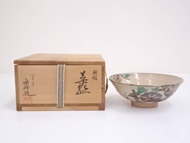 京焼 紫峰造 色絵朝顔茶碗