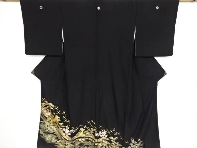 群鶴に花古典柄刺繍留袖(比翼付き)【リサイクル】【中古】