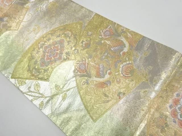 佐賀錦 地紙に花鳥更紗模様織り出し袋帯【リサイクル】【中古】