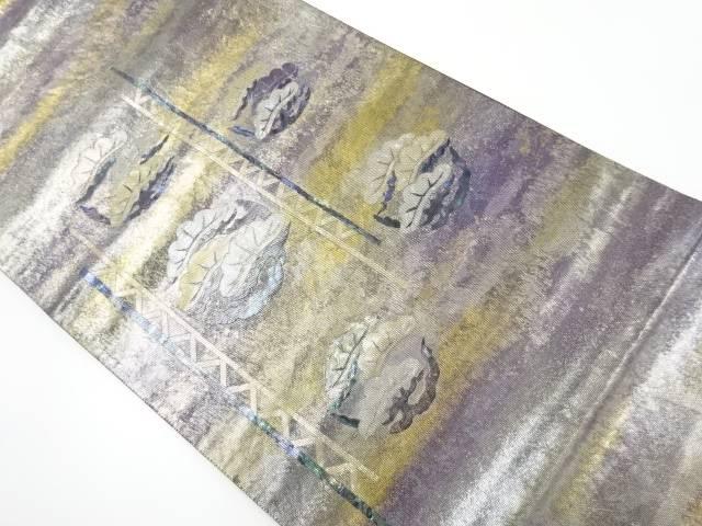 引箔螺鈿丸紋に笠松も織り出し袋帯【リサイクル】【中古】