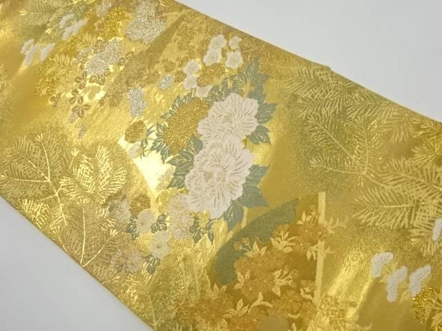 本金花扇模様織り出し袋帯【リサイクル】【中古】