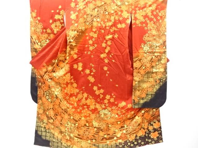 金彩 桜模様刺繍振袖(重ね衿付き)【リサイクル】【中古】