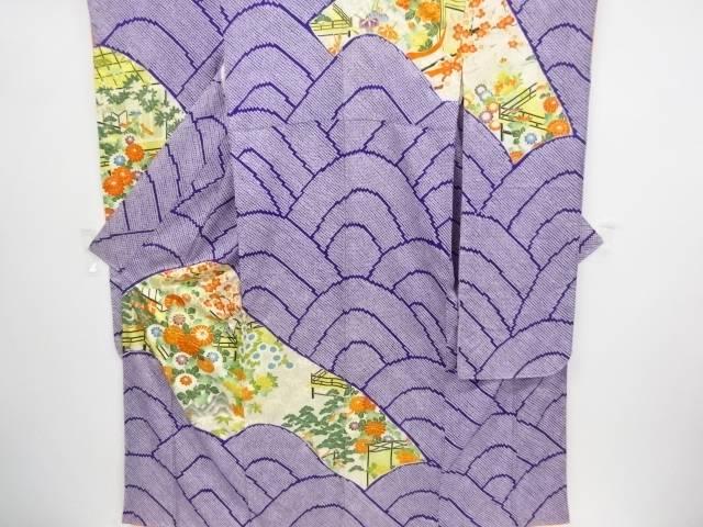 絞り屋敷に草花模様刺繍振袖・長襦袢セット【リサイクル】【中古】
