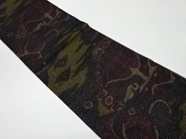 未使用品 花に抽象模様織出しリバーシブル洒落袋帯【リサイクル】【中古】