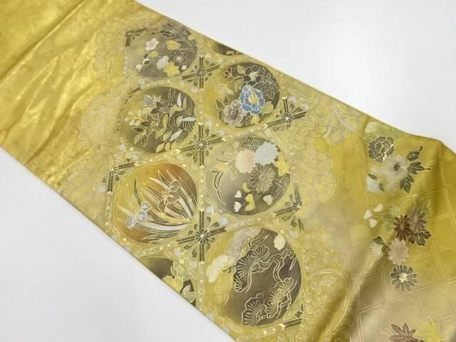 金彩螺鈿格天井に草花模様袋帯【リサイクル】【中古】