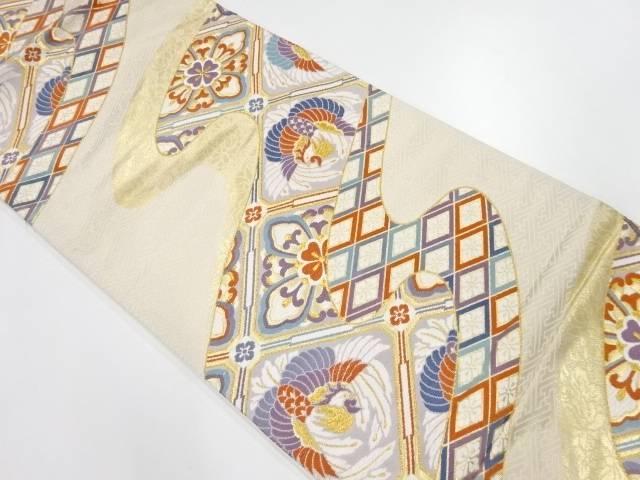 霞に鳳凰・華紋模様織出し袋帯【リサイクル】【中古】