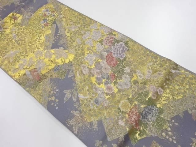 地紙に花鳥尽くし模様織出し袋帯【リサイクル】【中古】