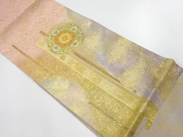 汕頭相良刺繍金彩雪輪に華紋模様袋帯【リサイクル】【中古】