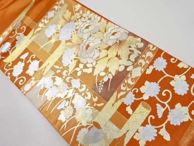 衣桁に牡丹模様刺繍袋帯【リサイクル】【中古】