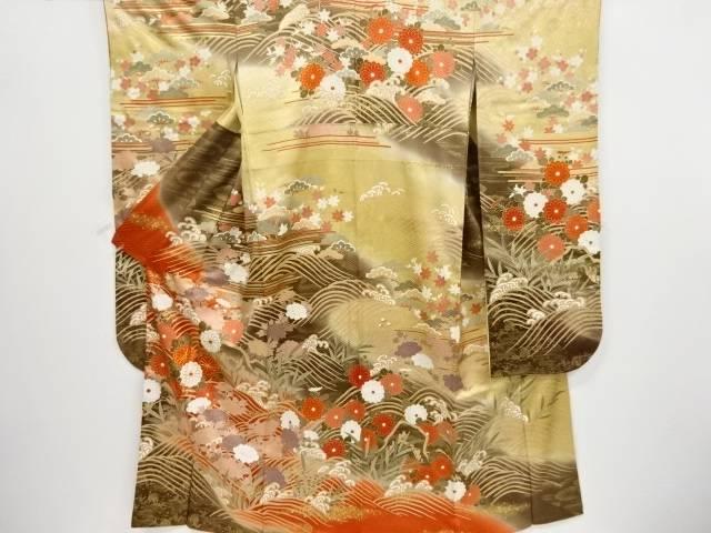 金彩荒波に菊・牡丹模様刺繍振袖【リサイクル】【中古】