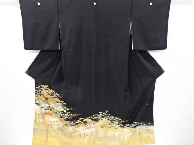 作家物 金彩友禅波に笠松模様刺繍留袖(比翼付き)【リサイクル】【中古】