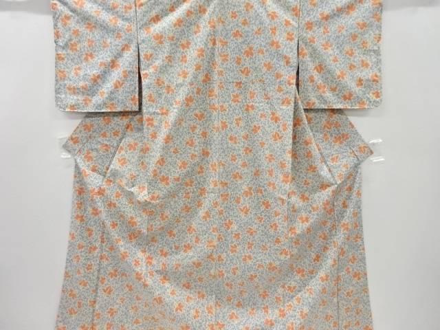 未使用品 仕立て上がり 花模様織り出し手織り紬着物