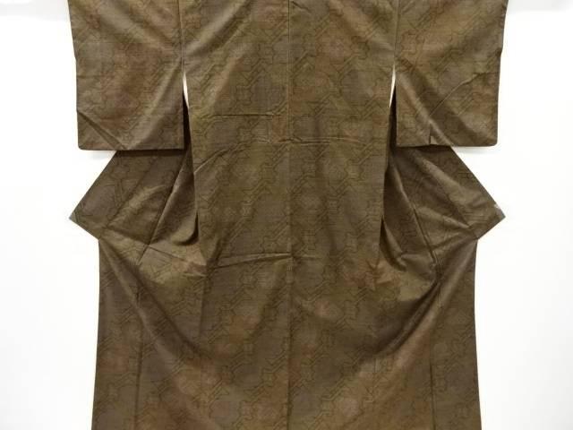 有栖川文様織り出し手織り真綿紬着物【リサイクル】【中古】